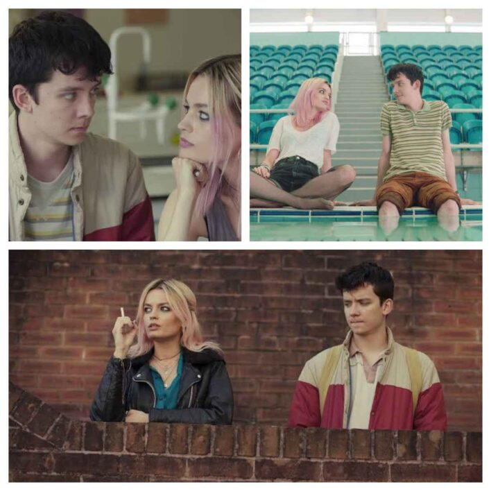 Asa Butterfield as Otis Milburn and Emma Mackey as Maeve Wiley in Sex Education Web Series