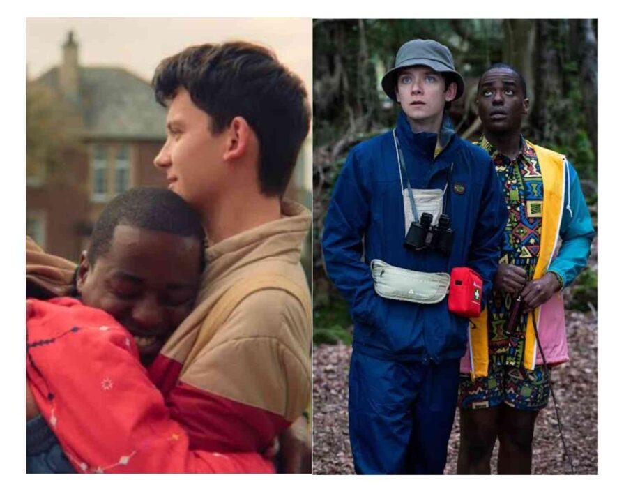 Asa Butterfield as Otis Milburn and Ncuti Gatwa as Eric Effiong in Sex Education Web Series